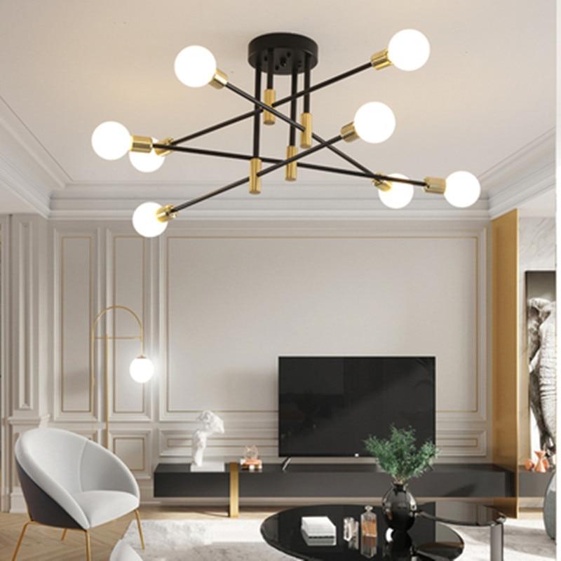 Modern Nordic E27 Lights Black LED Chandelier Lighting Edison 4/6/8Lights Chandeliers Indoor Light Fixture Not Included Bulbs