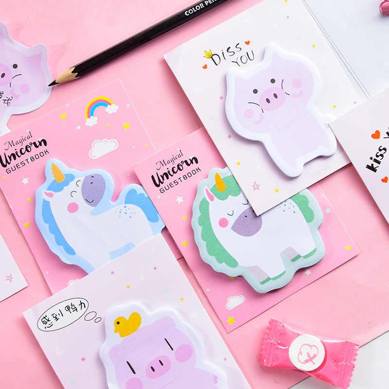Notas adesivas de unicórnio e arco-íris, notas adesivas para bloco de notas, faça você mesmo, material de escritório, papelaria escolar, 1 peça