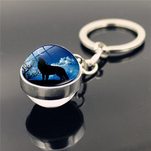 Howling Wolf and Moon Keychain Charms Fashion Double Side Cabochon Glass Ball Keychain Car Key Holder for Men Women Gift(China)