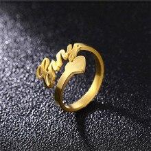 Benutzerdefinierte Herz Name Ring Personalisierte Herz Ring Einstellbare Größe Edelstahl Einzigartige Schmuck Hochzeit Ringe Geschenk Frauen Baby Mädchen