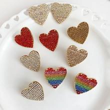 Богемные хрустальные серьги в форме сердца для женщин, вечерние подарки для девочек, модные женские свадебные яркие серьги украшения