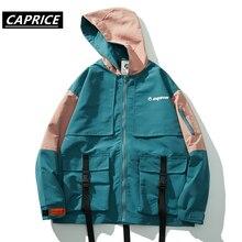 Hip Hop Patchwork Cargo Men Jackets 2019 Harajuku Multi Pockets Ribbons Fashion Casual Cotton Male Coats Streetwear