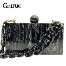 New Fashion Marble Acrylic Bags Vintage Women Messenger Bags Black White Ink Painting Evening Clutch Bags Party Prom Handbags