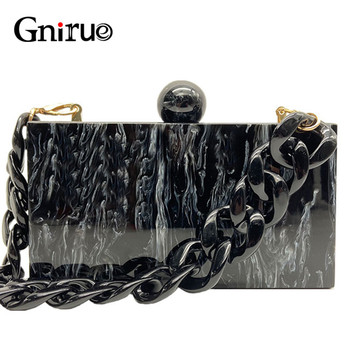 New Fashion Marble Acrylic Bags Vintage Women Messenger Black White Ink Painting Evening Clutch Party Prom Handbags
