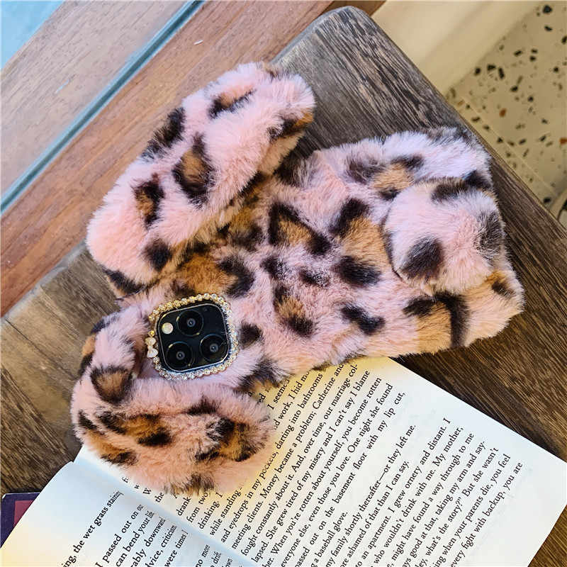 For iPhone 11 Pro 2019 X XS MAX XR 6 6s 7 8 Plus Case Leopard plush rabbit ears furry case Silicone cover for iPhone11 Pro Coque