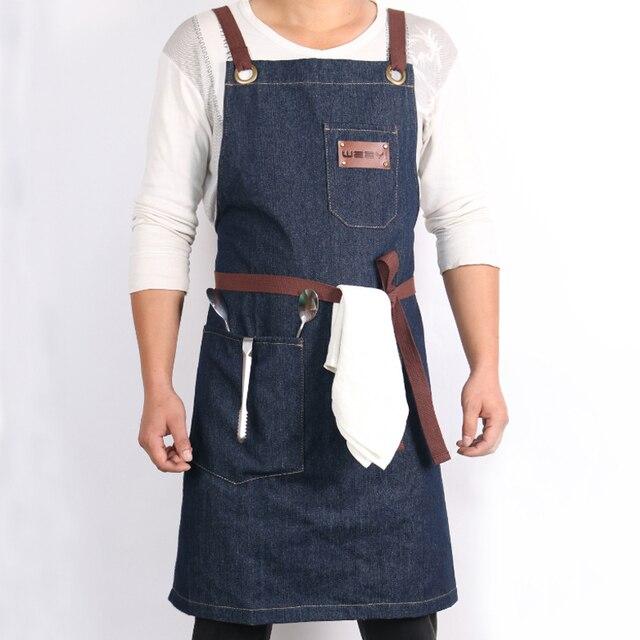 WEEYI Denim kuchnia fartuch kuchenny w/regulowany bawełniany pasek duże kieszenie niebieski фартук кухонный Barista mężczyźni i kobiety Homewear