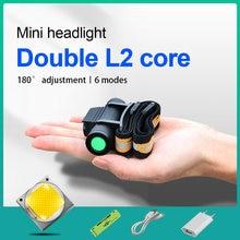 Мощный светодиодный налобный мини фонарь xm l2 80000 лм usb