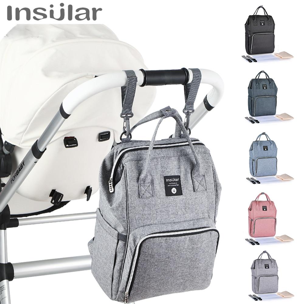 Insular Nappy Backpack Stroller Bag Mummy Waterproof Large Diaper Wet Bag Baby Traveler Backpack Mom Diaper Stroller Nursing Bag