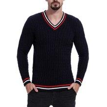 LOOZYKIT мужской свитер, осенний зимний шерстяной полосатый свитер, тонкий вязаный мужской свитер с v-образным вырезом, повседневные свободные свитера, пуловеры