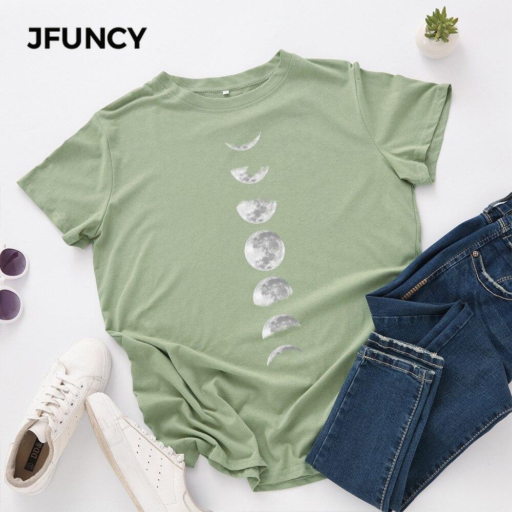 JFUNCY Plus Size Tshirt S-5XL New Moon Print T Shirt Women 100% Cotton O Neck Short Sleeve T-Shirt Tops Summer Casual Shirts 2
