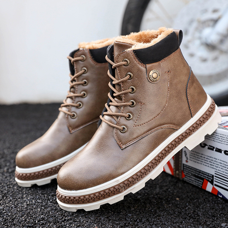 Winter Boots For Men Snow Boots Genuine Leather Ankle Boots Waterproof Working Winter Shoes Casual Men Botas Hombre