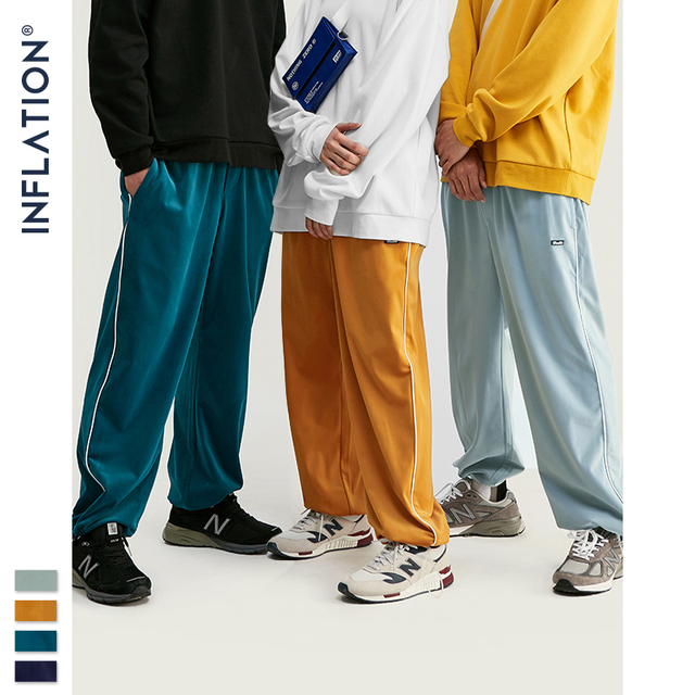 INFLATION 2020 FW Men Track Pants Loose Fit Overalls Solid Color Men Track Pants Streetwear Flannelette Fabric Men Pants 93381W 47