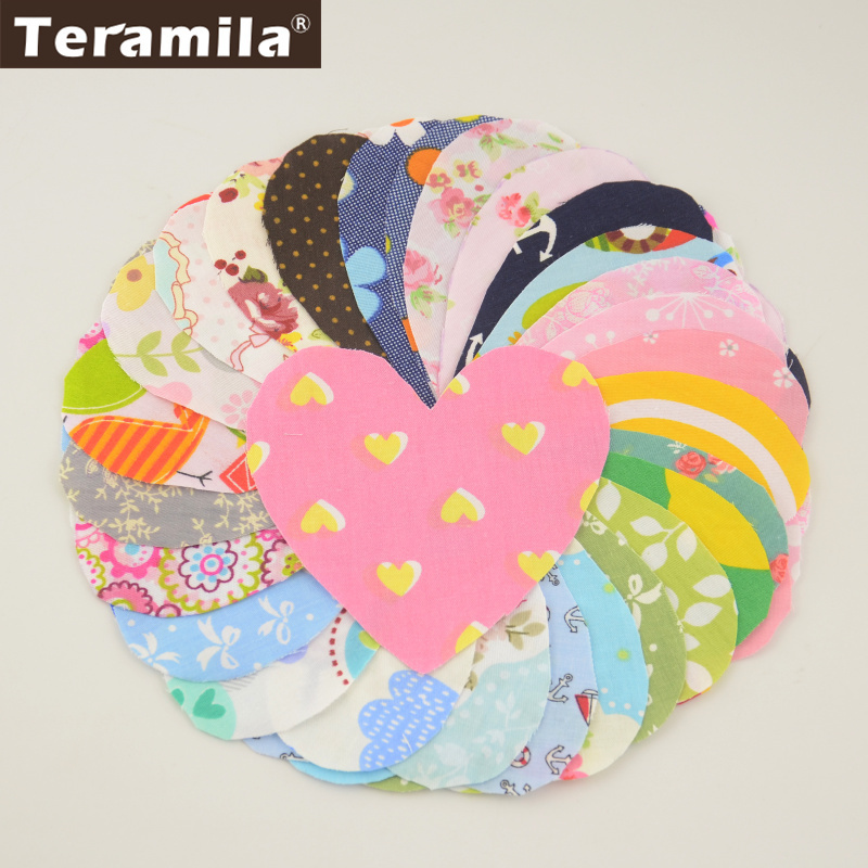 Teramila Cotton Patchwork 30 Pcs/lot 10cmx10cm Heart Shape Fabric Charm Pack Quilting Fabrics No Repeat Designs Cloth Random