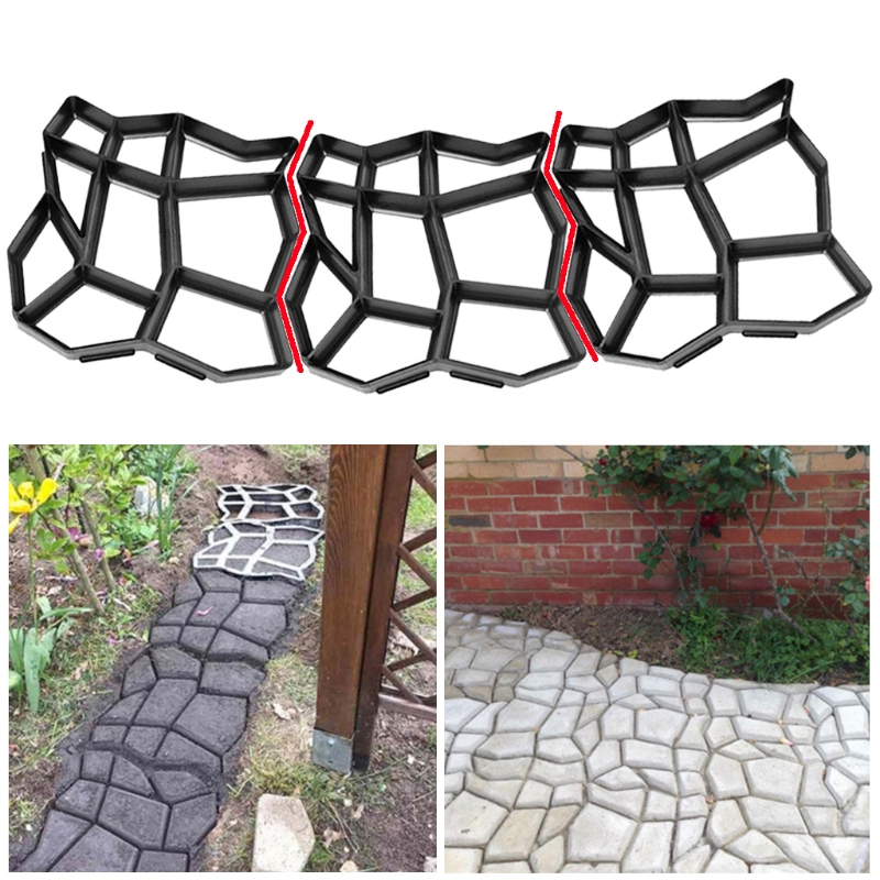 Stone Paving Mold Concrete Stepping Walkway Paver 9 Grids DIY Driveway Garden