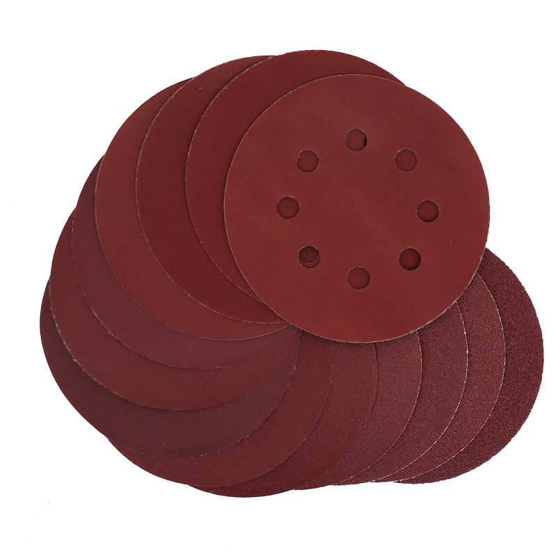 40pcs 8 Hole Red Dry Sand Disc Wood Working Polishing Sandpaper Wall Polished Flocked Sanding Pads Abrasive Tools