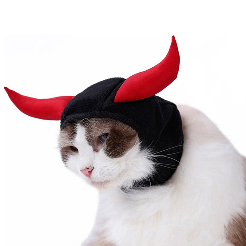 New Funny Cute Pet Costume Cosplay Bull Horn Cap Hat For Cat Halloween Xmas Clothes Fancy Hat With Ears Autumn Winter