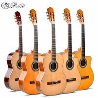 Guitarra acústica clásica de 39 pulgadas, instrumento Flamengo de 6 cuerdas, Picea Asperata, tilo, nailon, luz roja, tamaño estándar