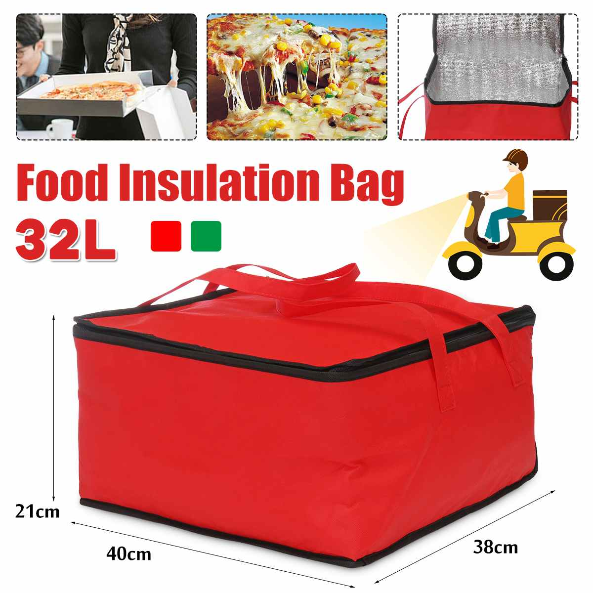32L Waterproof Insulated Bag Folding Picnic Portable Ice Pack Cooler Bag Insulation Food Thermal Bag Food Delivery Bag Pizza Bag