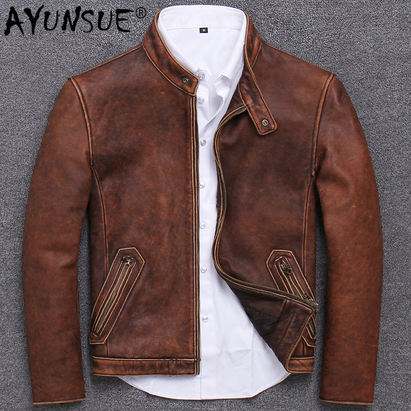 Retro Genuine Leather Jacket Men Autumn Motorcycle Leather Coat 100% Real Cow Leather Jackets Slim Vintage 2019 S681 KJ3210