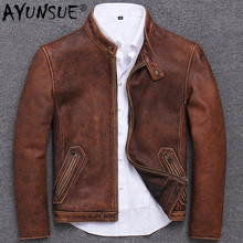 Retro Genuine Leather Jacket Men Autumn Motorcycle Leather Coat 100% R