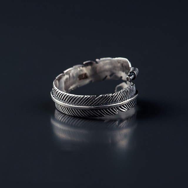Plata de Ley 925 auténtica anillos con forma de plumas para mujer anillo de bodas anillos mujer de plata 925 joyería de plata esterlina