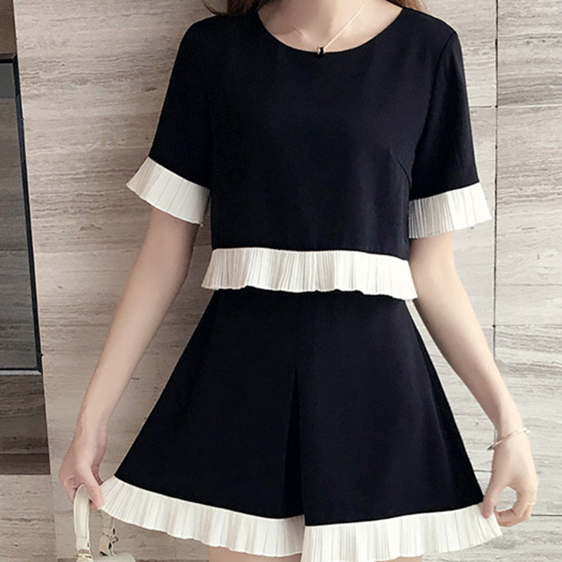 Casual Two Piece Sets Women Summer V Neck Short Sleeve Tops +  Shorts Female Office Suits Set Women's Costumes