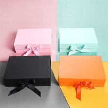 Caja de regalo plegable con cinta satinada, con cierre magnético para fiesta, boda, papel de regalo, propuesta de dama de honor y almacenamiento