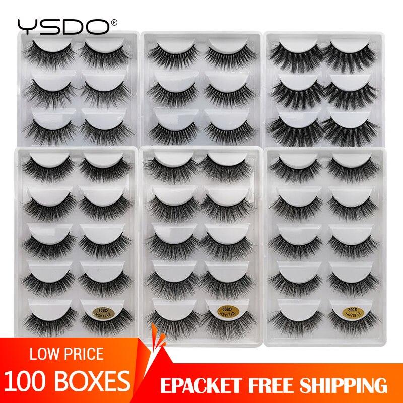 YSDO Wholesale 10-100 Boxes Mink Eyelashes Natural Volume 3d Mink Lashes Bulk Makeup Fluffy False Eyelashes Maquillaje Faux Cils