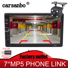 Carsanbo 2 Din 7 Inch Car Radio Stereo Bluetooth Car Mp5 Player USB TF Touch Screen Mirror Link Radio Rear View Camera Optional eincar double 2din 7 car radio headunit car stereo gps bluetooth mp5 player car radio 1080p audio mirror usb rear view camera