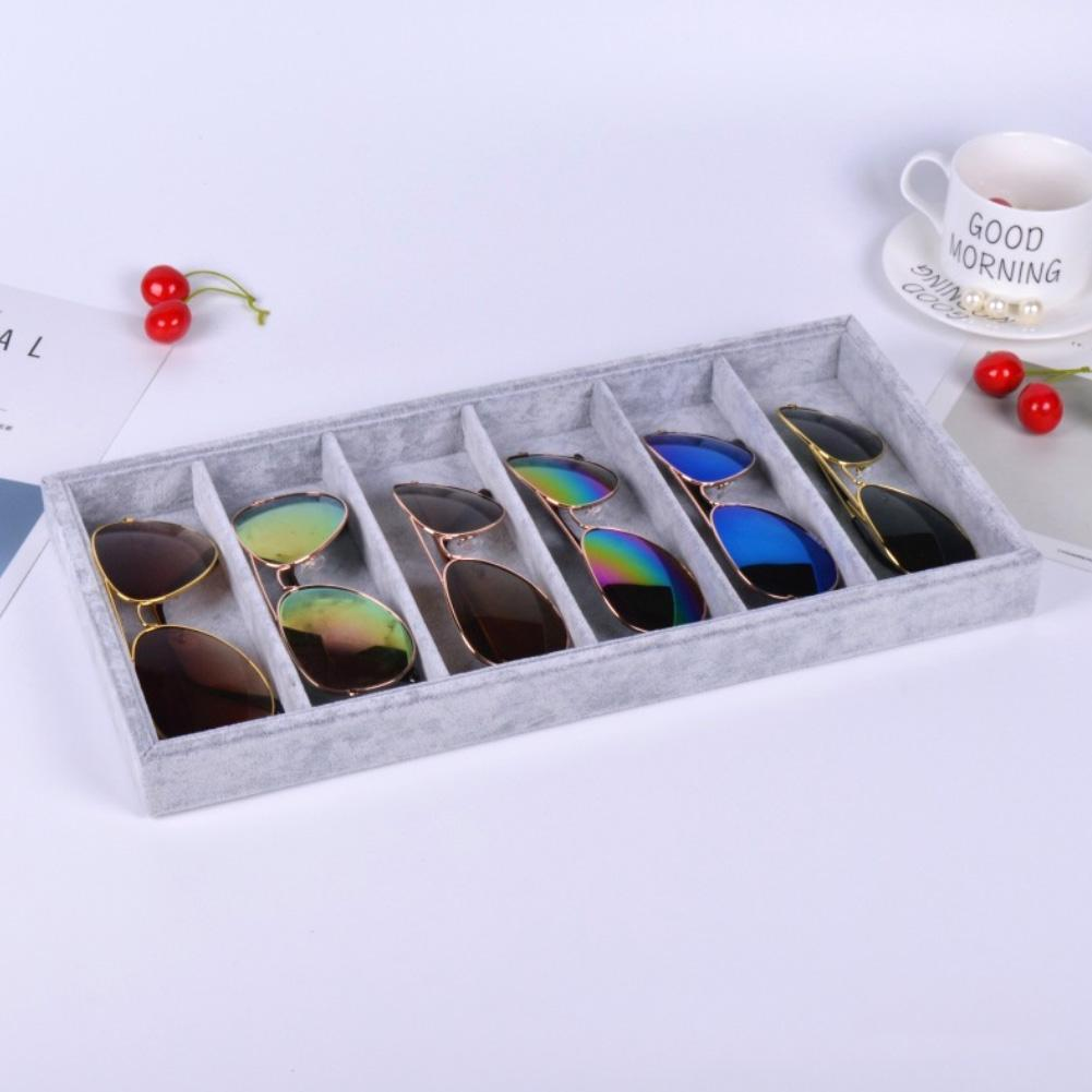 5/6 Grids Sunglasses Glasses Display Tray Holder Storage Box Container Tray Storage Organizer Case Jewelry Unisex Accessories