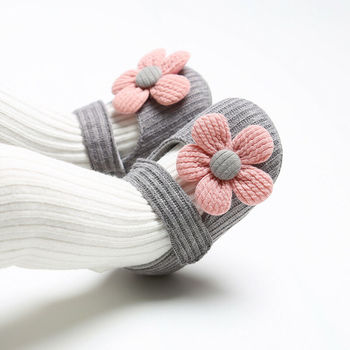 Knitted Baby Shoes Newborn baby girl flower autumn striped floral first walker sneakers shoes toddler classic casual shoes