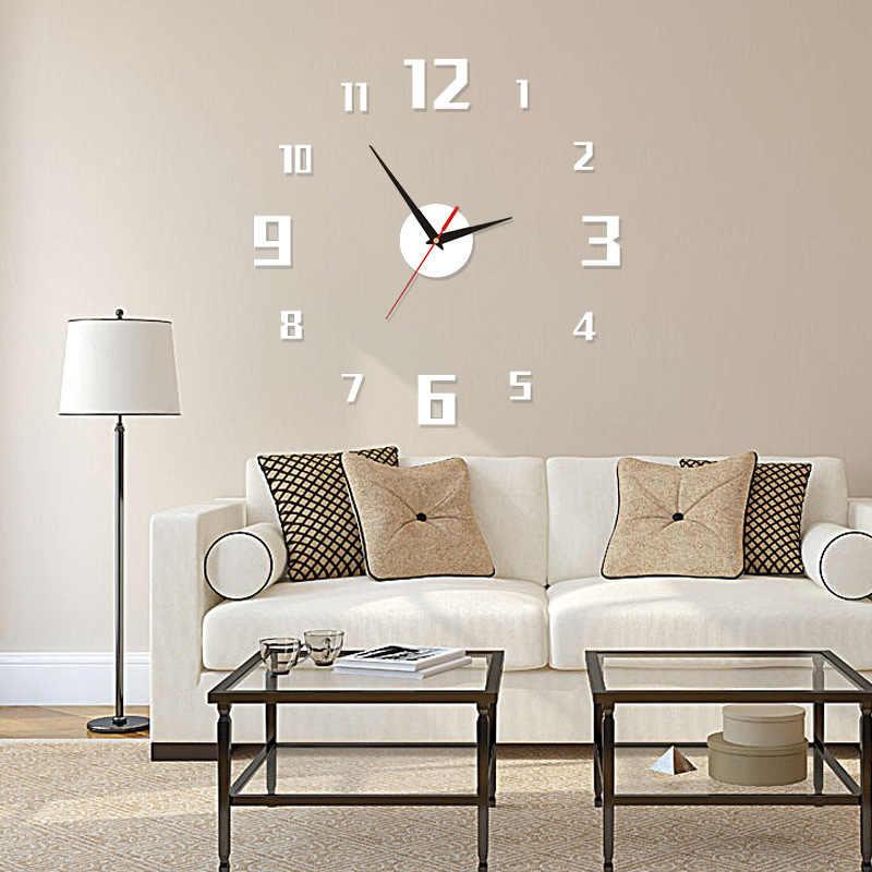 Nowy wzór zegara ściennego 3D duże lustro akrylowe zegary naklejki akcesoria do salonu dekoracyjny zegar domowy na dekoracje ścienne