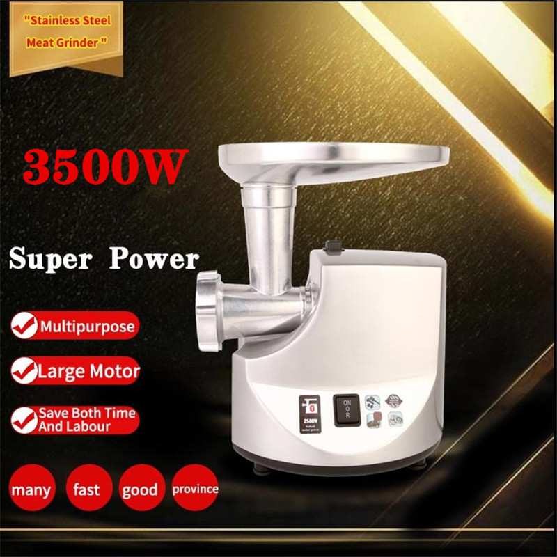 3500W Powerful Stainless Steel Electric Meat Grinders Home Sausage Stuffer Meat Mincer Heavy Duty Household Mincer