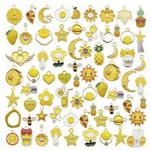 20 pçs clássico esmalte amarelo encantos aleatório misturado frutas animais flores liga pingentes brincos jóias fazendo acessório