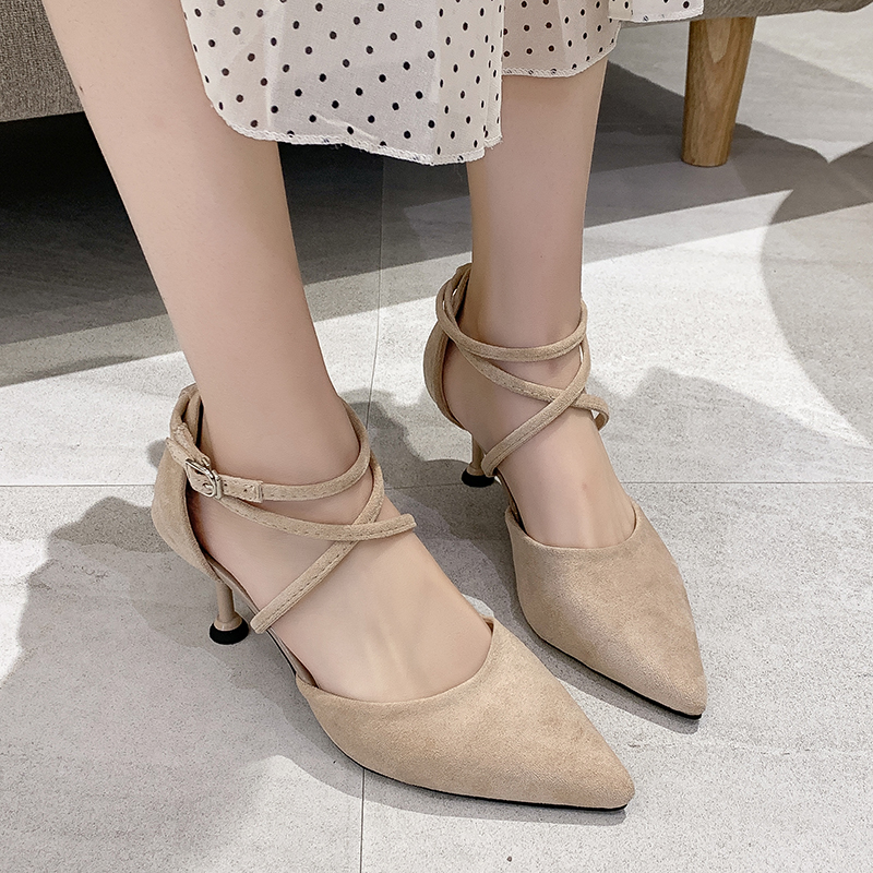 2020 Exquisite Style High Heel Women Spring Autumn Wild Suede Pointed Solid Color Cross Strap New W32-05