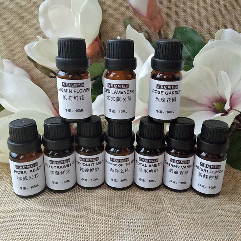10ML Jasmine Essential Oil Lavender Natural Oily Cosmetics Candle Flavor Soy Wax Paraffin Coconut Wax Making DIY Flavor Raw