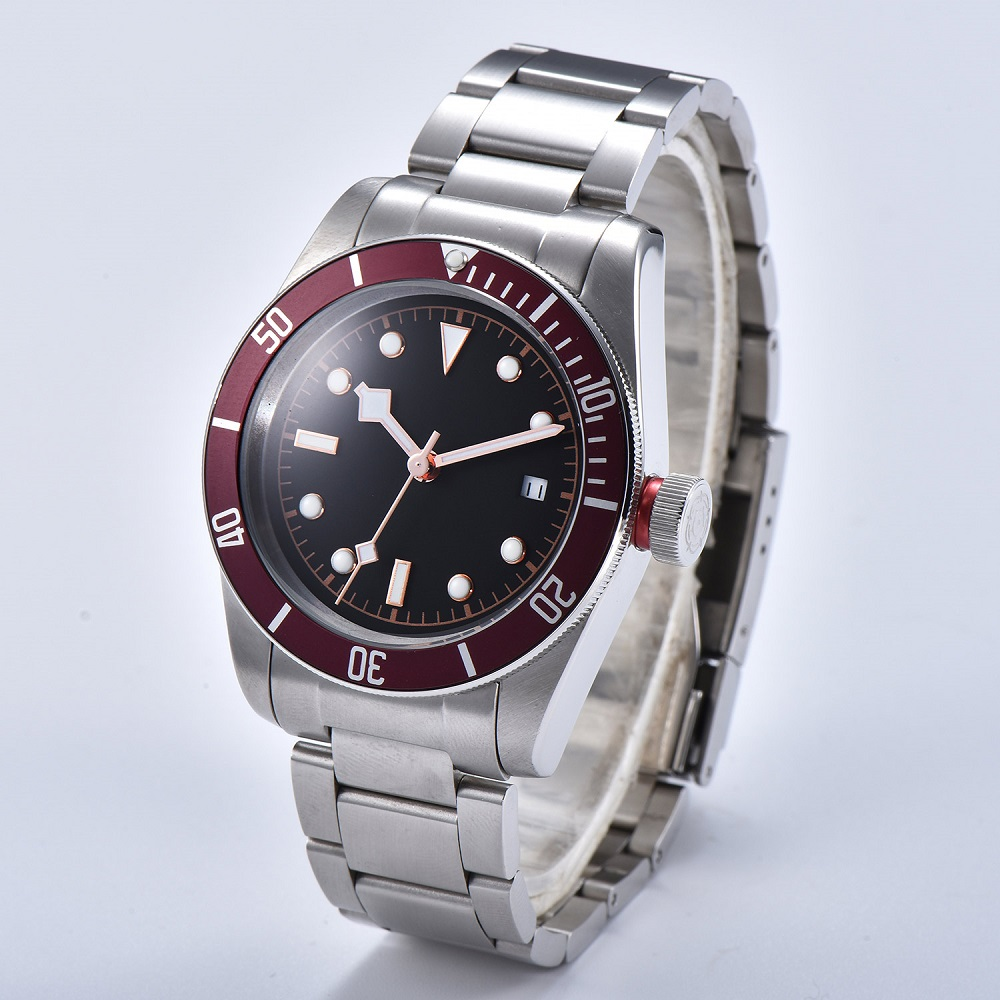 Watch Men 41mm Automatic mechanical watches red aluminum rotating bezel luminous Military men watch 07