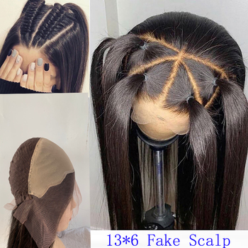 Invisible Fake Scalp Wig 13x6 Deep Part Lace Front Human Hair Wigs Long Straight Glueless Preplucked Bleached Knots Remy Hair