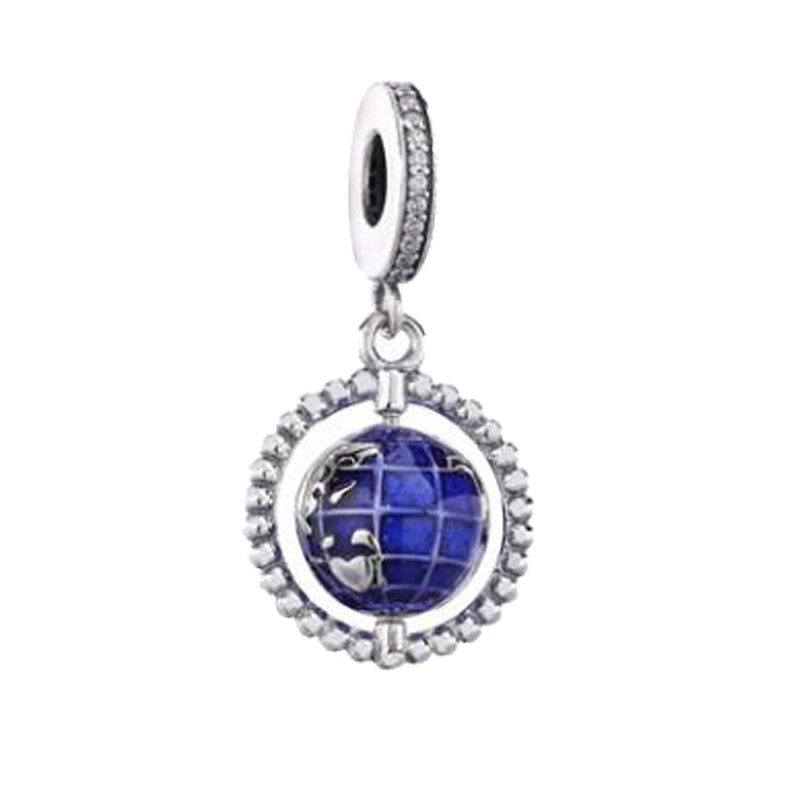 Free Shipping Real 925 Sterling Silver Charm Blue Enamel Globe Dangle Fit Pandora Women Bracelet & Necklace Diy Jewelry