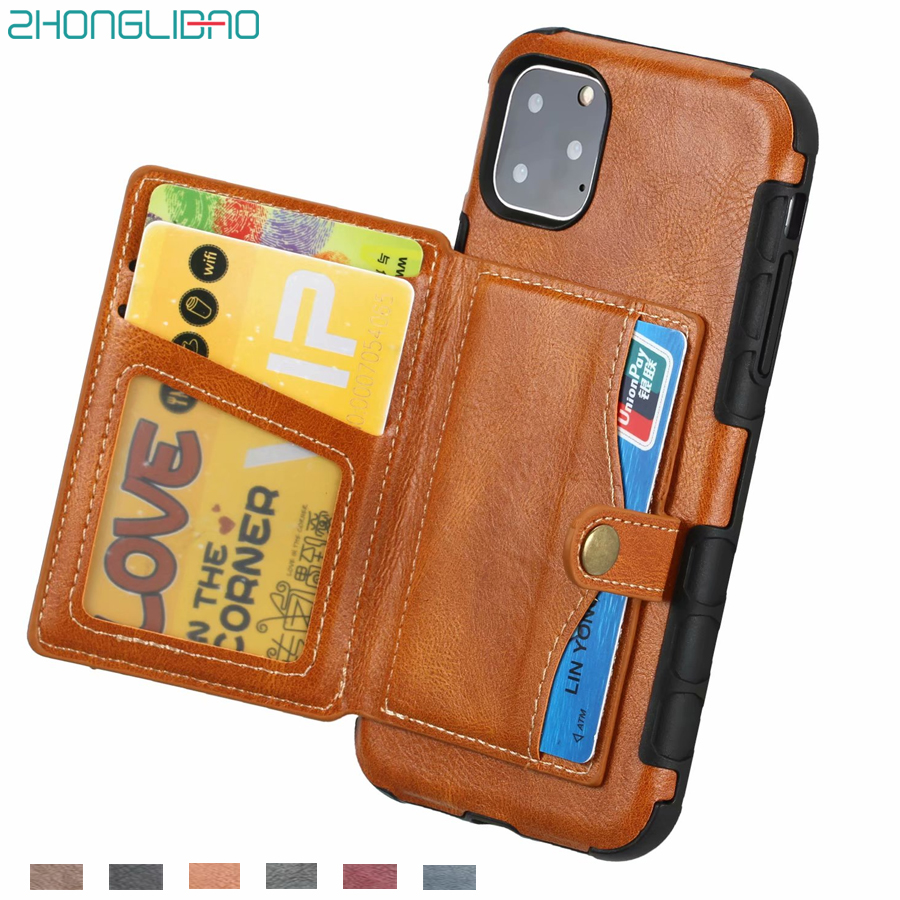 Retro Cards Wallet Purse Case For iPhone 11 Pro Max 6 6s 7 8 Plus Leather Pocket Back Cover For iPhone XS Max X 10 XR Phone Case(China)