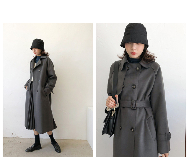 2020 new women's winter coat woolen coat slim-fit belt elegant and soft women's long coat coat windproof 5