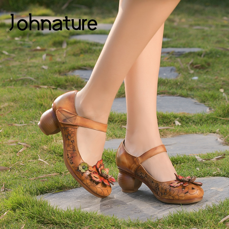 Johnature High Heels Retro 2020 New Spring Pumps Women Shoes Genuine Leather Round Toe Hook & Loop Flower Hollow Ladies Shoes