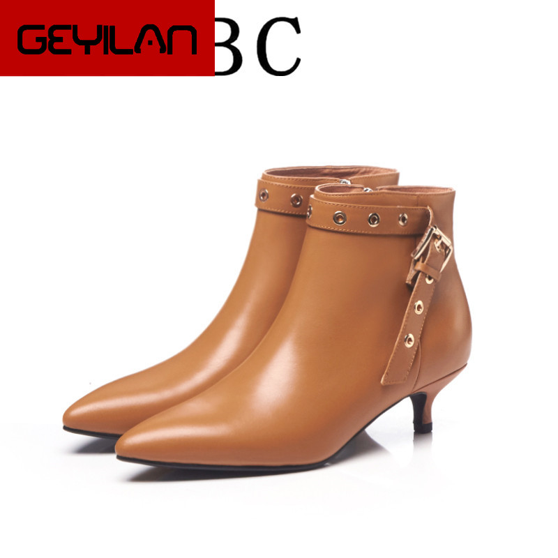 Latest Rivet Chelsea Boot Women Ankle Booties Spring Boots Genuine Leather Women's High Square Heel Shoes Female Footwear 33-41
