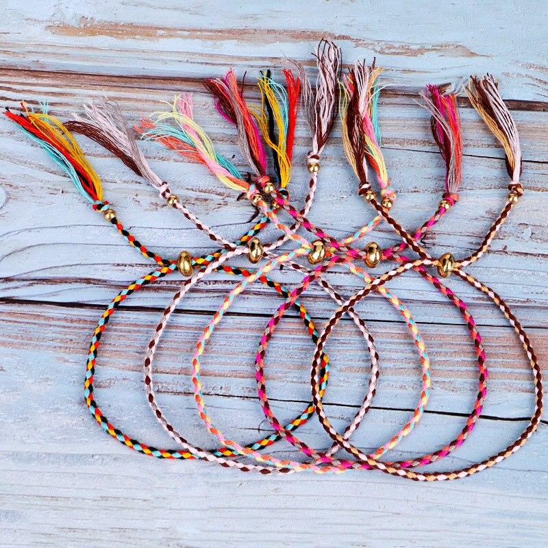 Meetvii Colorful Woven Rope String Bracelet Boho Yoga Handmade Chic Tassel Friendship Bracelet for Men Women Child Lucky Jewelry