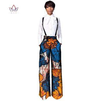 BRW pantalones de alta calidad Africana recta Pantalones largos una pieza Romper con estampado Dashiki ropa para mujeres WY2478