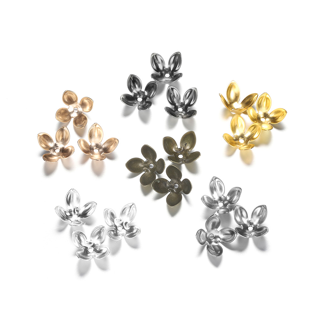 50pcs/lot Iron Silver Gold Plated Beads Caps Flower Findings  Petal Spacer Bead Cap Charms For Jewelry Making