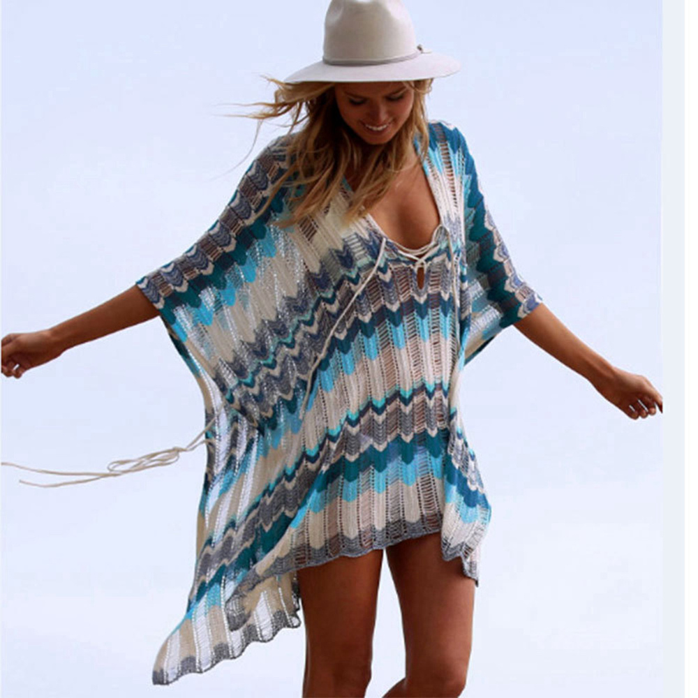 Sexy Beach Tunic Deep V Mesh Mini Dresses Knitted Cover Up 15