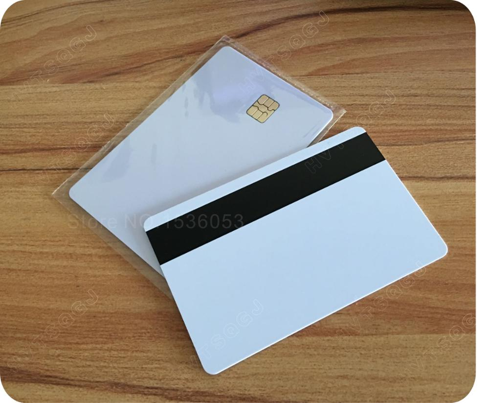 500PCS 2 in 1 Blank PVC IC Karte SLE 4442 Chip Mit Hico Mag Streifen Smart Karte,