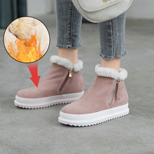 Plus Size 34-43 Top Quality Genuine Sheepskin Leather Woman Snow Boots Fashion Platforms Winter Boots Natural Fur Warm Wool Shoe miyagina top quality new fashion genuine sheepskin leather snow boots 100
