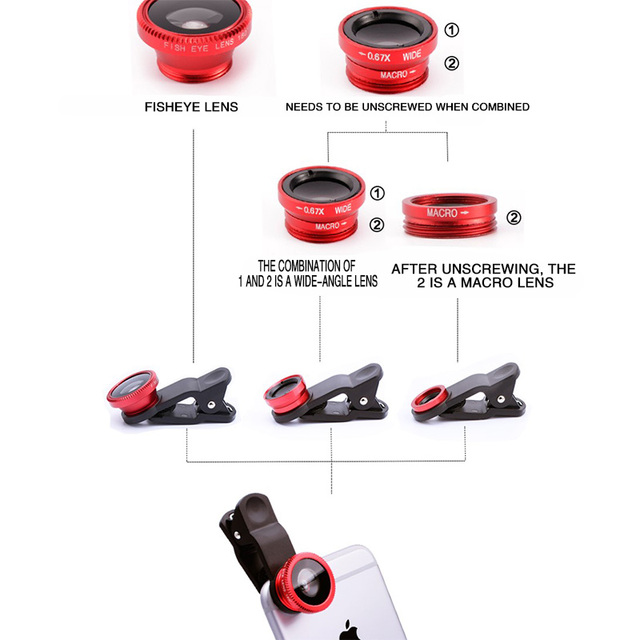3in1 Fisheye Phone Lens 0.67x Wide Angle Zoom Lens Fish Eye Macro Lenses Camera Kits With Clip Lens On The Phone For Smartphone 2